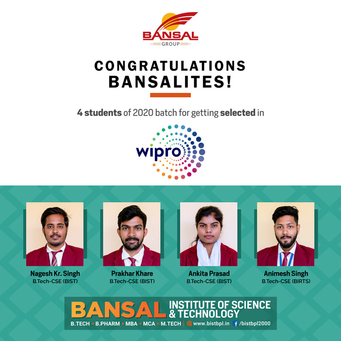 Students placed in Wipro
